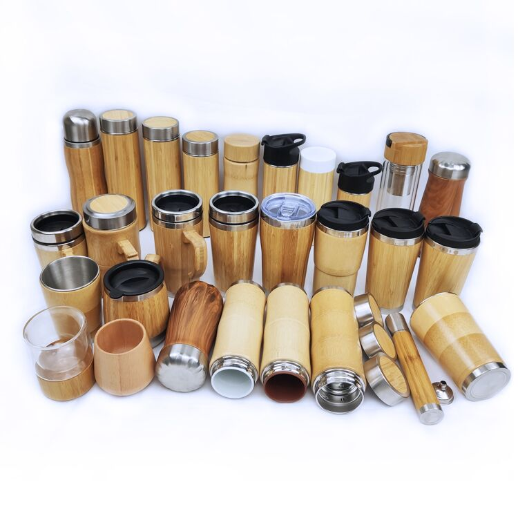 Hot-selling new stainless steel portable water bottle bamboo shell custom logo cup