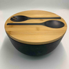 Biodegradable Eco Bamboo Salad Bowl with spoon and fork