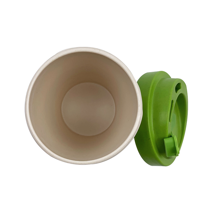 10OZ 300ml Bamboo Fiber Cups Rice Husk Wheat Fiber Cups with Printed Logo on Silicone Band