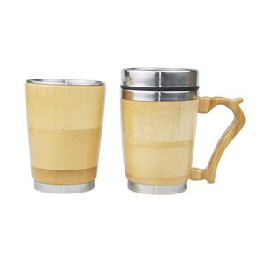Wholesale Bamboo Shell Vacuum Cup Thermos Stainless Steel Water Bottle