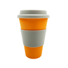 Reusable Biodegradable 450ml Bamboo Fiber Coffee Cup with Silicone Lid