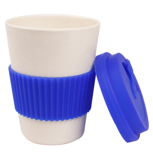 12oz Biodegradable Custom Printed Reusable Bamboo Fiber Coffee Cup with Lids